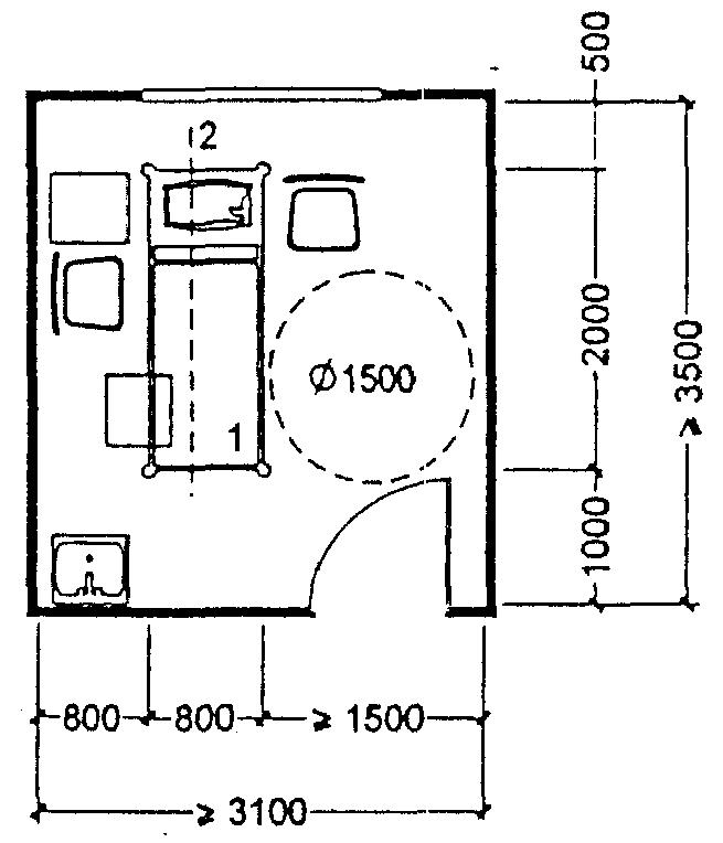 Массажный кабинет: 1 - кушетка