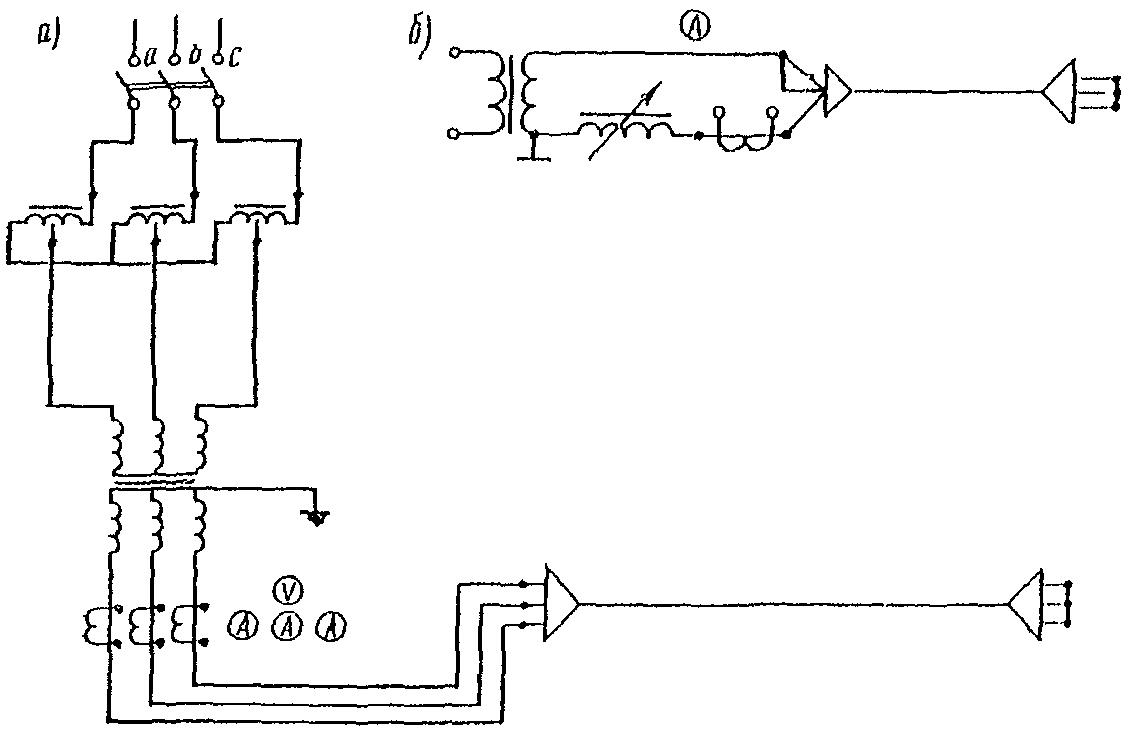 Схема прогрева кабелей: а - трехфазным током; б - переменным однофазным или постоянным током.  2.155. При прогреве...
