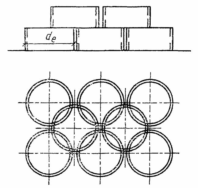 Схема складирования стеновых колец колодцев.