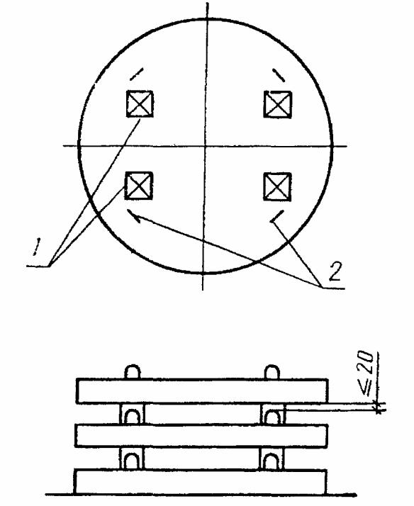 Схема складирования плит перекрытия днищ колодцев.