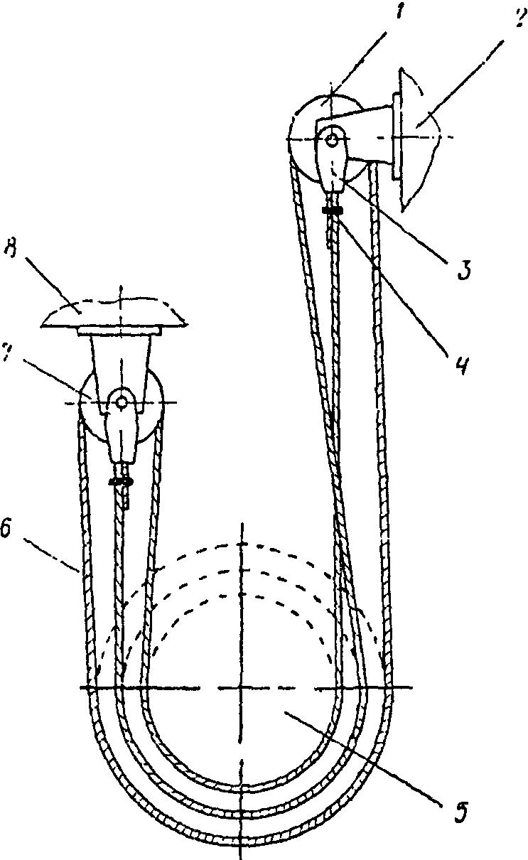 Рис. 97.  Схема крепления компенсирующих канатов.
