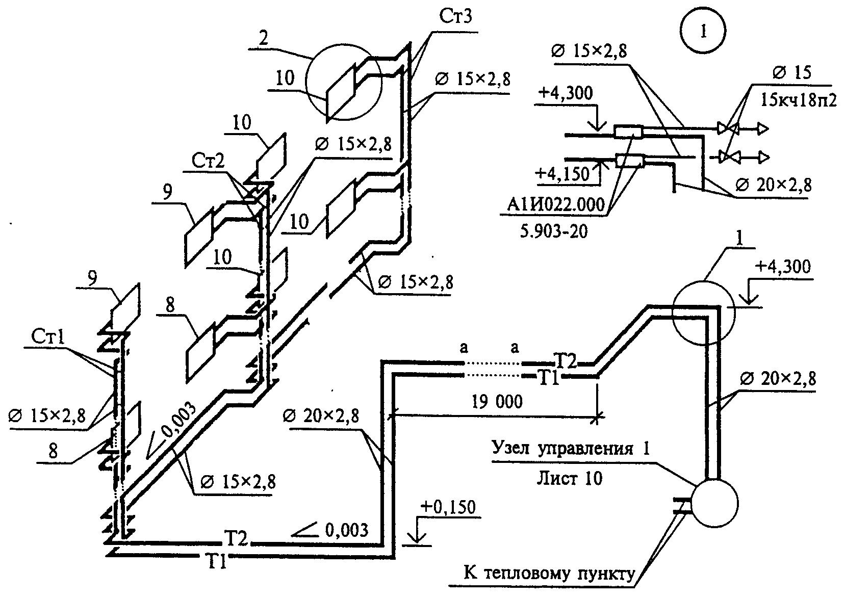 Г.3. Г.4. Г.3 Пример выполнения схемы узла управления системами отопления и теплоснабжения установок приведен на.
