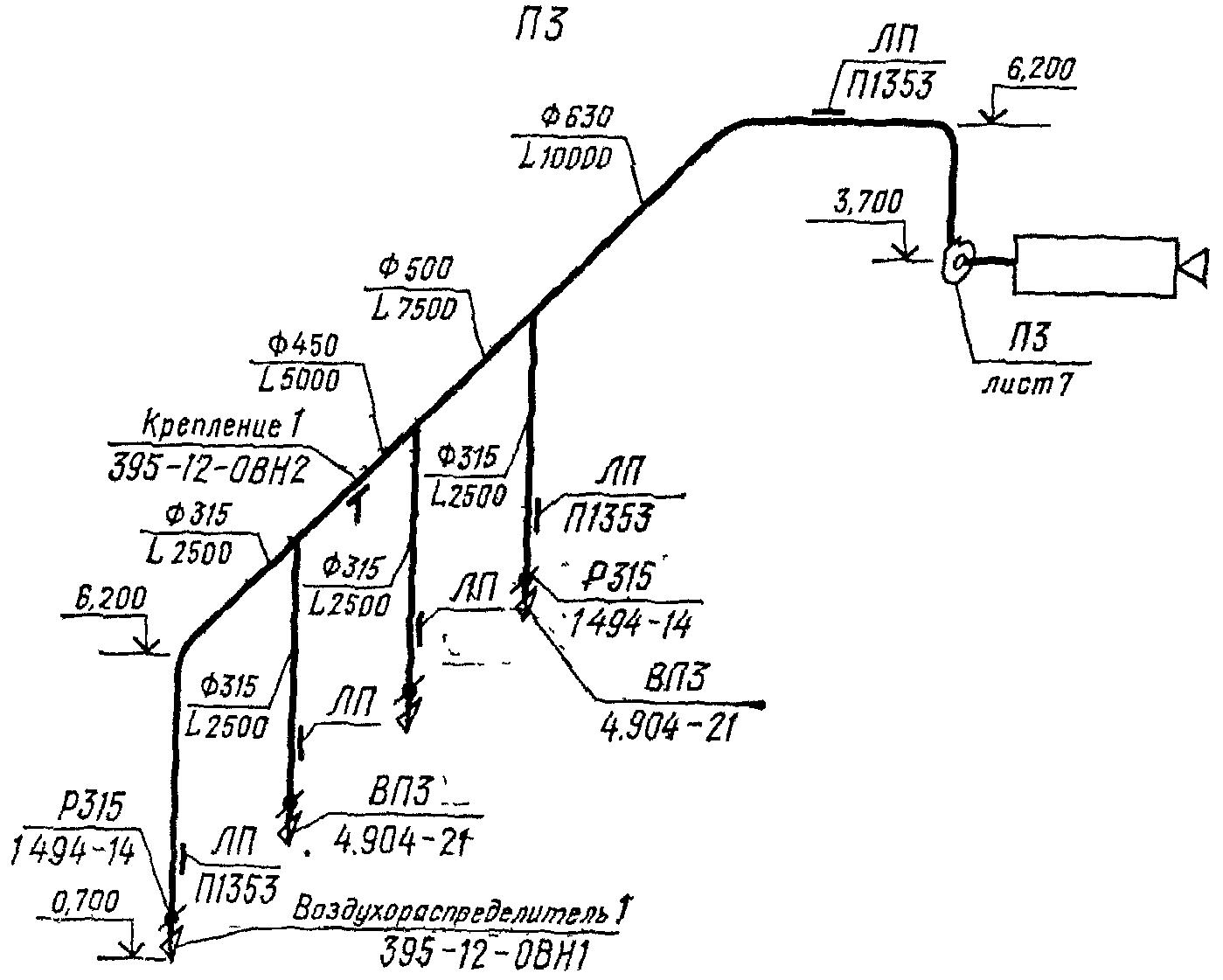 расчетная схема системы приточной вентиляции