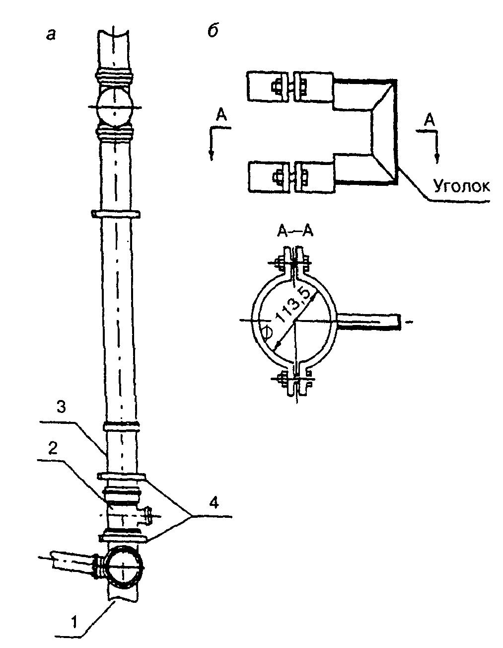 а - установка стояка в креплении; б - конструкция крепления 1 - двухплоскостная крестовина 110=110=50 мм; 2...