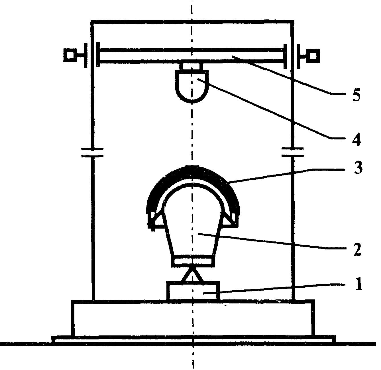 Рис.1. Принципиальная схема стенда ударного.  1 - силоизмерительный датчик; 2 - муляж головы; 3 - каска; 4...