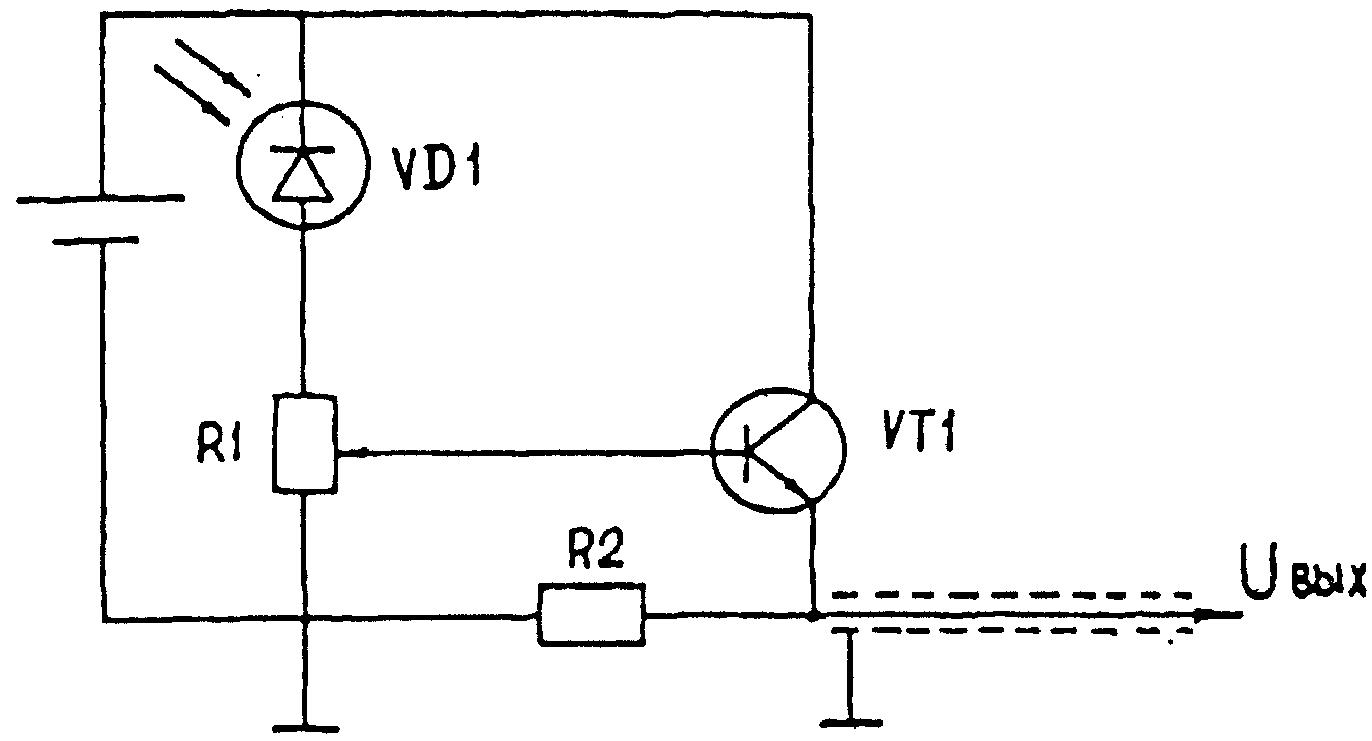 Информация.  Индикатор световых сигналов.  Схема электрическая принципиальная: VD1 - ФД-9К; VT1 - КТ315Е; R1 - 1,8...