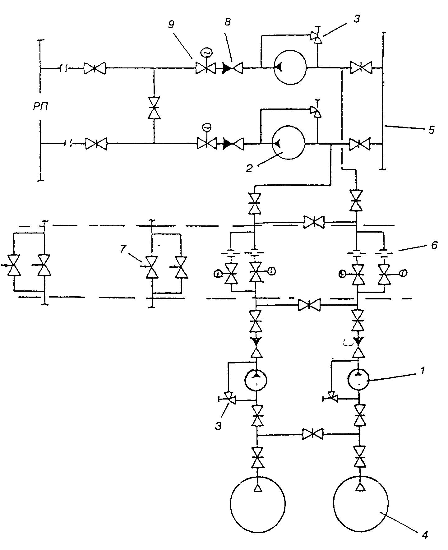 Рисунок 5.Принципиальная схема.  8 - обратный клапан; 9 - задвижка с электроприводом.  1 - насос для подачи ПО; 2...