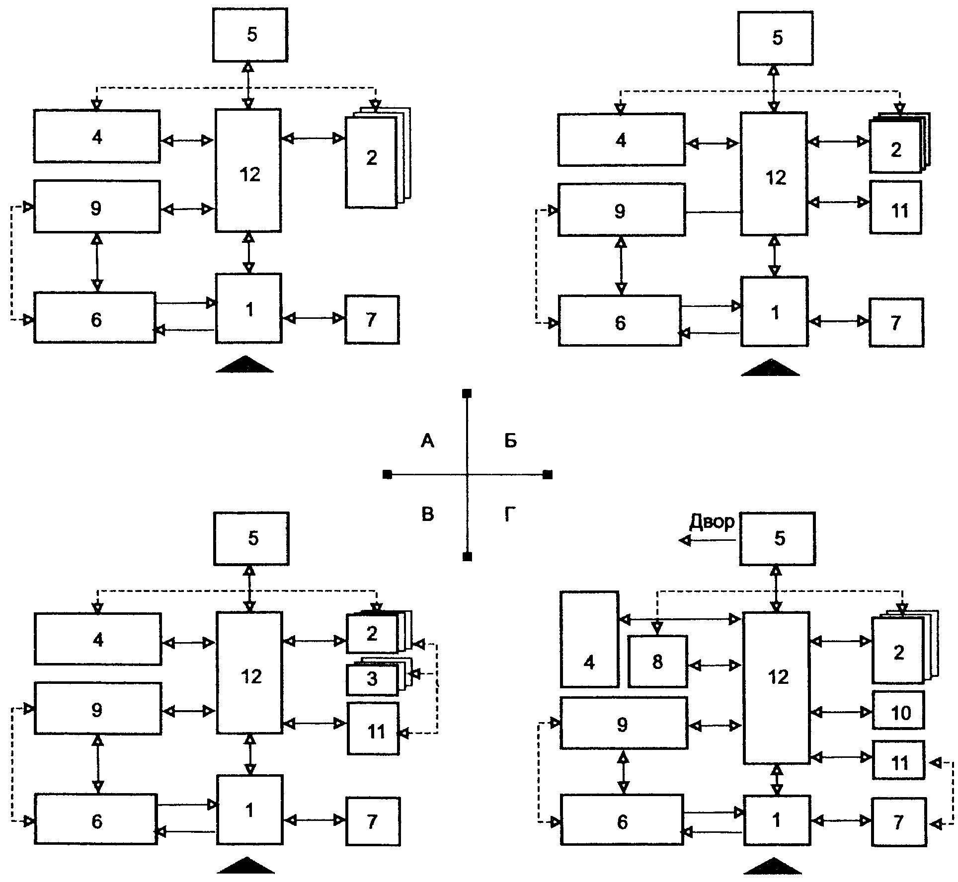 Схемы взаимосвязей помещений.  Условные обозначения.  5.16. В зданиях учреждений временного пребывания следует...