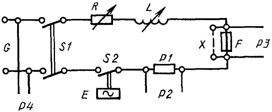 Типовая схема цепи для испытания предохранителя. питания; S2 - аппарат, замыкающий цепь; E -устройство.