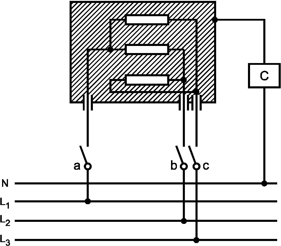Обозначения - см. рисунок 3. Рисунок 4 - Схема измерения тока утечки при рабочей температуре для трехфазных приборов...