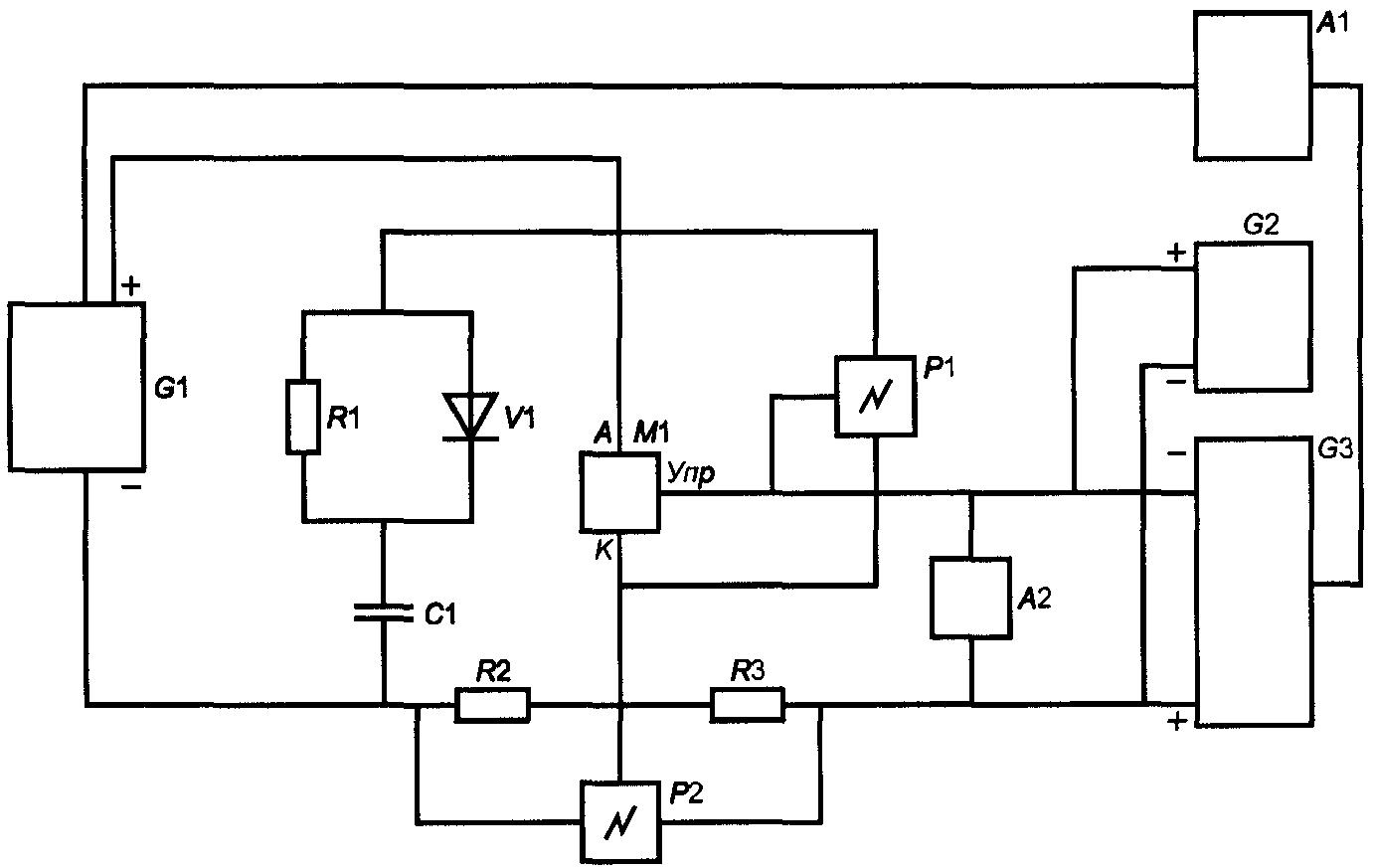 синхронизирующее устройство подачи. источник импульсов тока. источник отпирающего импульсного тока управления...