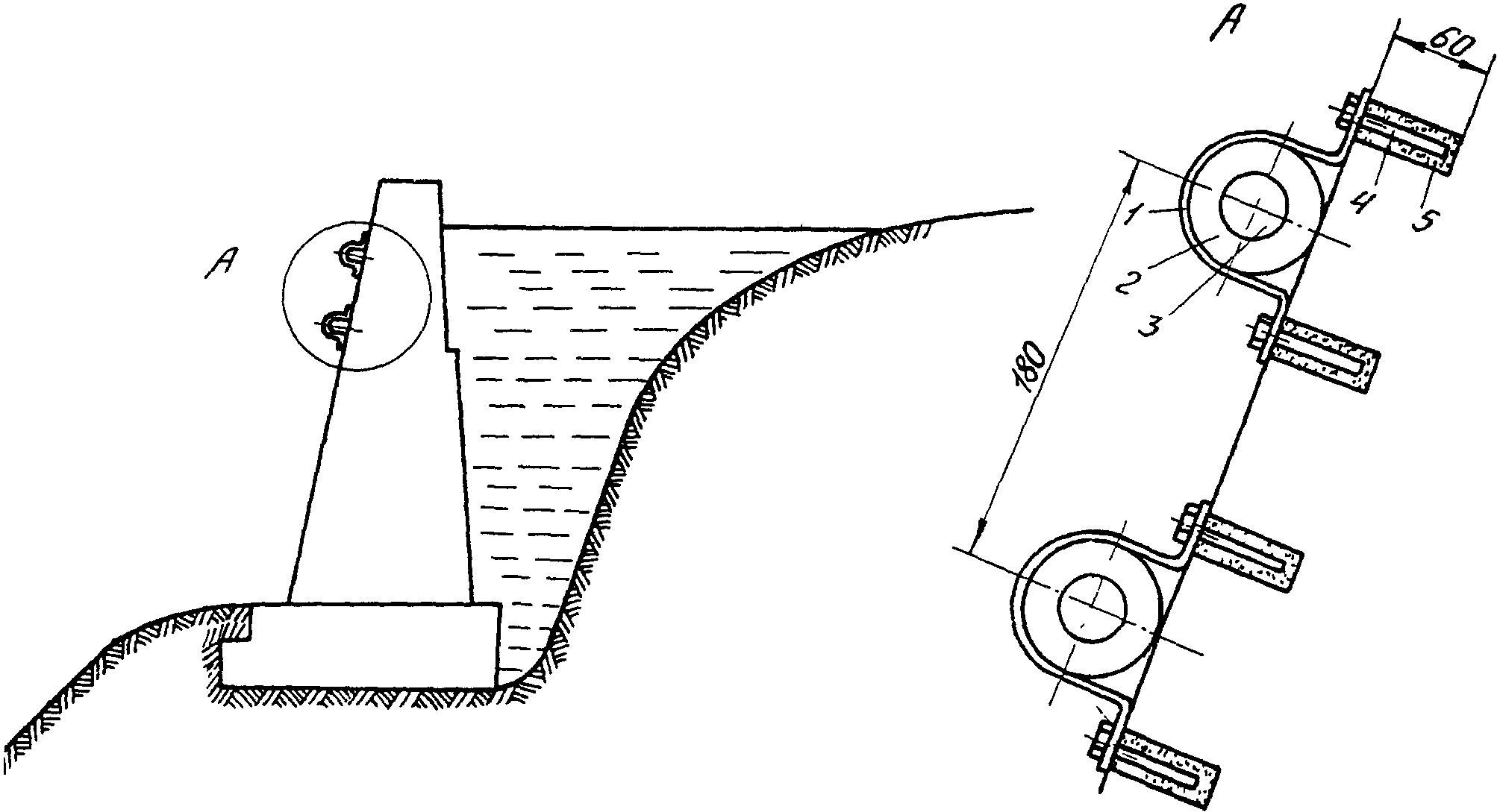 Схема прокладки кабеля по подпорной стене.  1- крепежная скоба, 2 - резиновая втулка; 3 - кабель, 4 -шуруп 4.