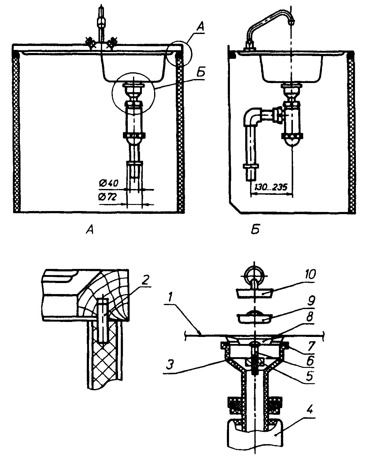 схема установки трапов в производственном здании