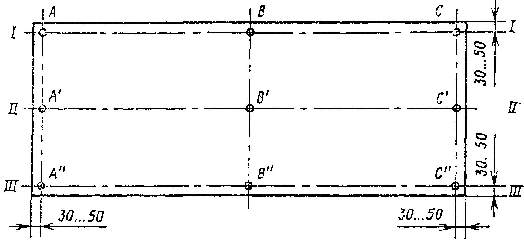 1. 3. Нивелирование точек рабочей поверхности поддона проводят при расположении опор по краям(черт.