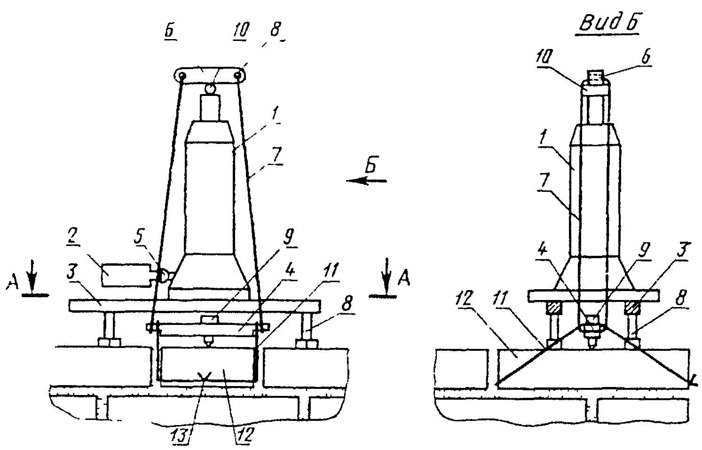 Схема испытания каменной кладки на сцепление.