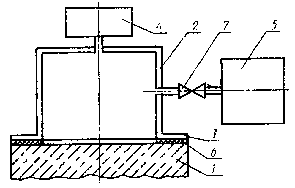Принципиальная схема устройства для определения воздухопроницаемости поверхностных слоев бетона.