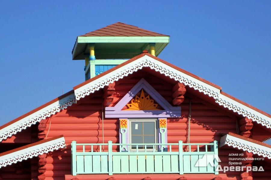 Отделка дома из оцилиндрованного бревна фото