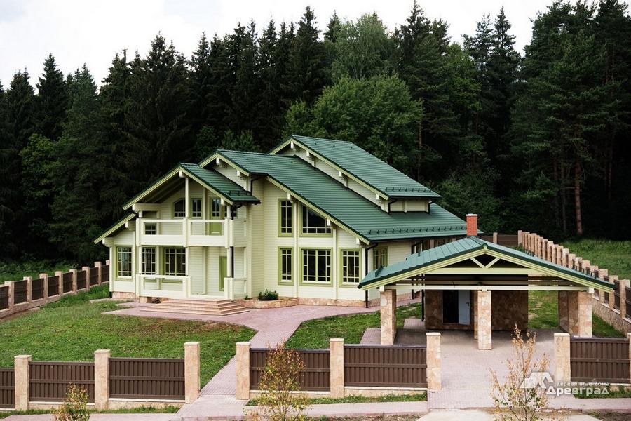 Дома из клееного оцилиндрованного бревна уникальное фото