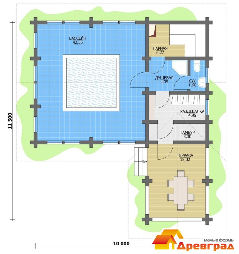 Вариант проекта бани с бассейном