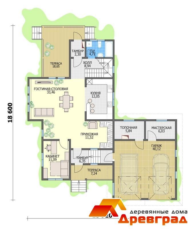 Дом имеет общую площадь 442,43 кв. м., построен по канадской технологии каркасных домов позволяющих осуществлять строительство деревянных