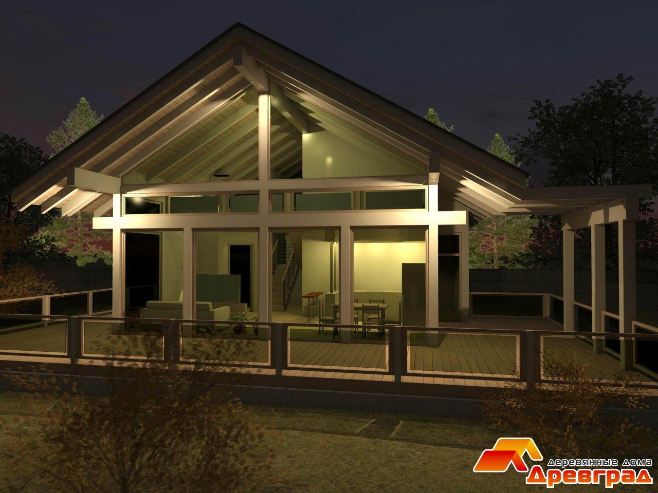 Одноэтажный деревянный дом хай тек
