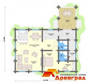 Дом из оцилиндрованного бревна 180 Валуево