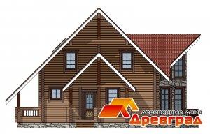 Дом из клееного бруса 6х6 Эркер Компактный проект